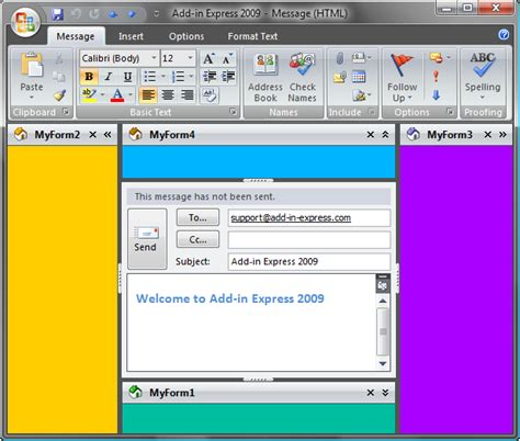 outlook regions for outlook explorer and inspector windows