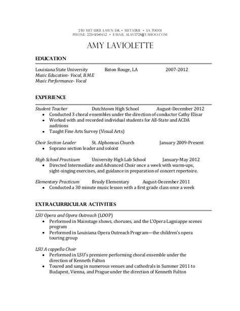 musical resume template education resume
