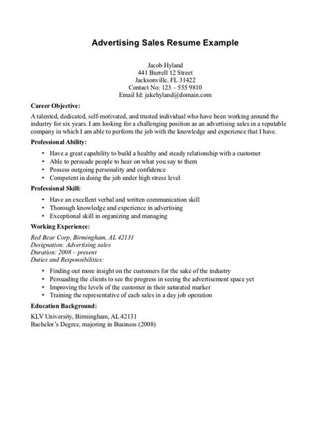 Resume Sle Objective by Sales Advertising Resume Objective Read More Http Www Sleresumeobjectives Org Sales