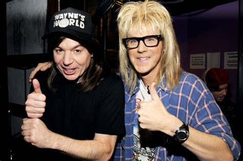waynes world swing schwing mike myers is wayne and dana carvey is garth as