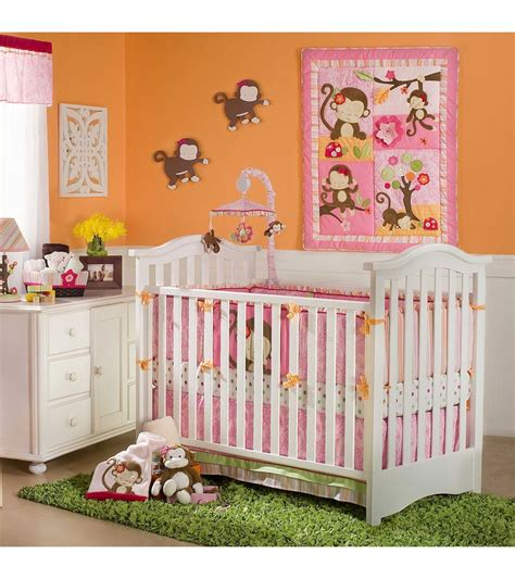 kidsline crib bedding kidsline miss monkey 4 piece crib bedding set