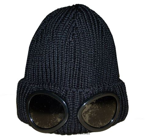 with goggles cp company black wool beanie hat with goggles hats from designerwear2u uk