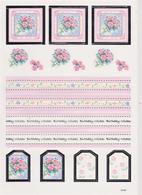Decoupage Cut Outs - 3d die cut decoupage floral birthday wishes toppers