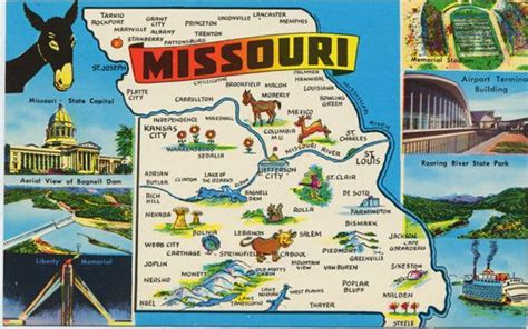 missouri attractions map missouri state map vintage chrome greetings postcard