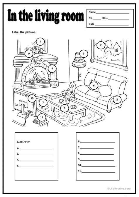 Living Room Worksheets In The Living Room Worksheet Free Esl Printable