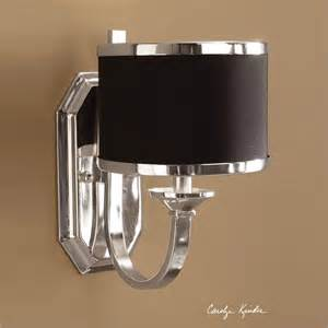 Black Wall Sconces Uttermost Uttermost Tuxedo Black Shade Wall Sconce In Silver Plated Metal View All