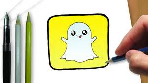 draw logo snapchat kawaii