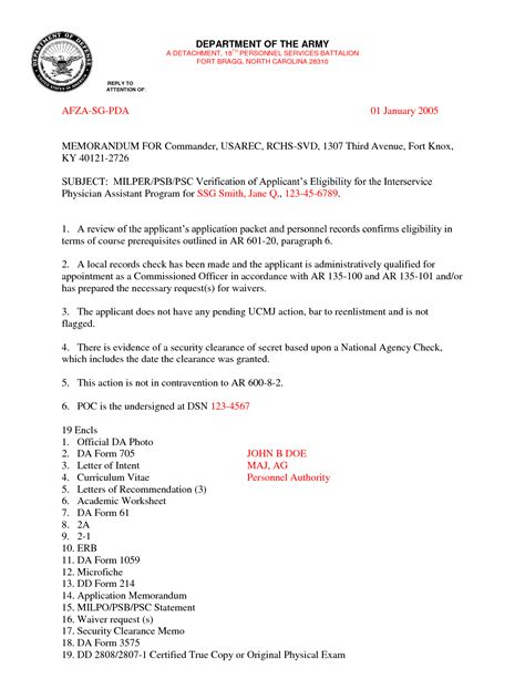 army letter template best photos of letter of recommendation template