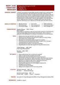 Kitchen Manager Profile Restaurant Assistant Manager Resume Templates Cv Exle