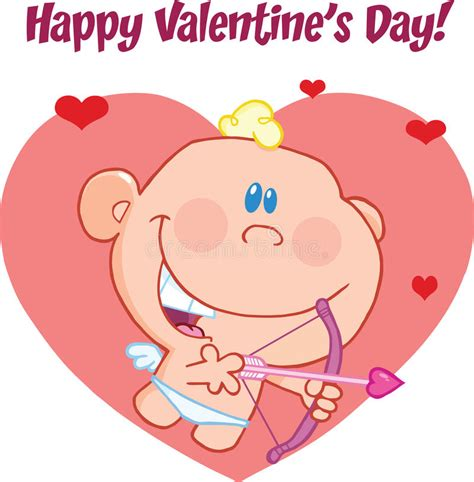 happy valentines day in characters happy s day greeting with baby cupid flying
