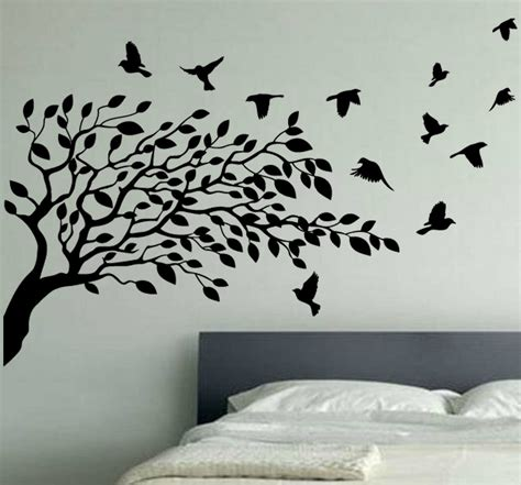tree silhouette wall sticker wallpaper wall decals stickers vinyl removable birdcage bird tree bird wallpaper stickers
