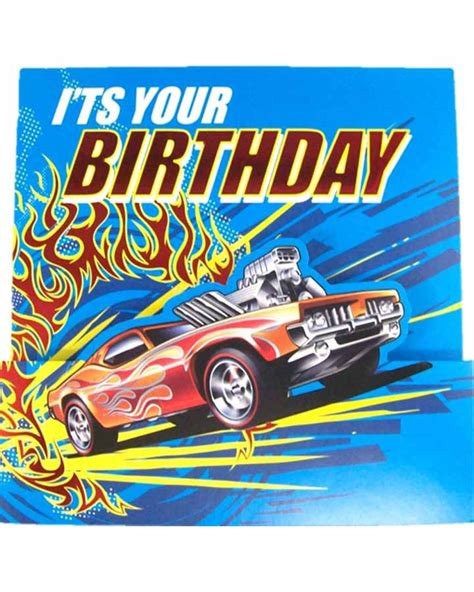 Printable Birthday Cards Hot Wheels | hot wheels square birthday card party supplies