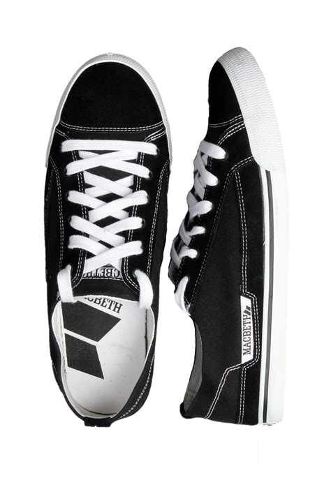 macbeth matthew black white leather canvas shoes