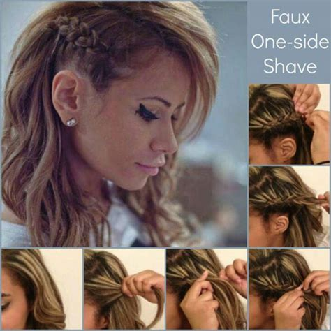 one side shaved hairdo braid tutorials fake one side shave how to fake a faux side shave braid