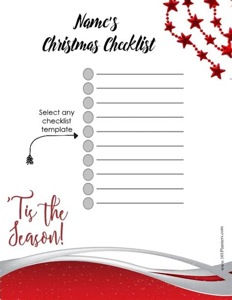 christmas list template customize  print  home