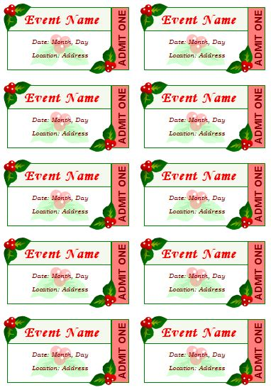 Printable Show Tickets | event ticket template templates pinterest ticket
