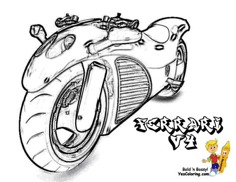 coloring pages of cars and motorcycles colouring picture of ferrari motorcycle car pictures