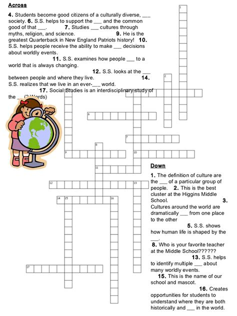 Football Worksheets For Middle School by What Is Social Studies Crossword Puzzle