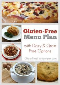 Gluten free menu plan with dairy and grain free options at