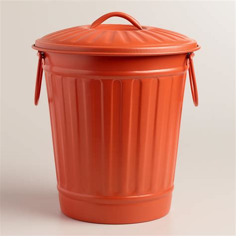 Large Kitchen Garbage Can by Large Coral Retro Metal Trash Can World Market