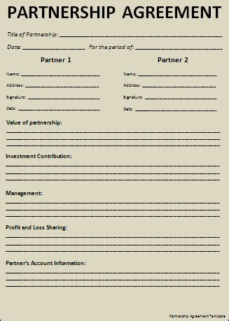 partner agreement template sle partnership agreement free word s templates
