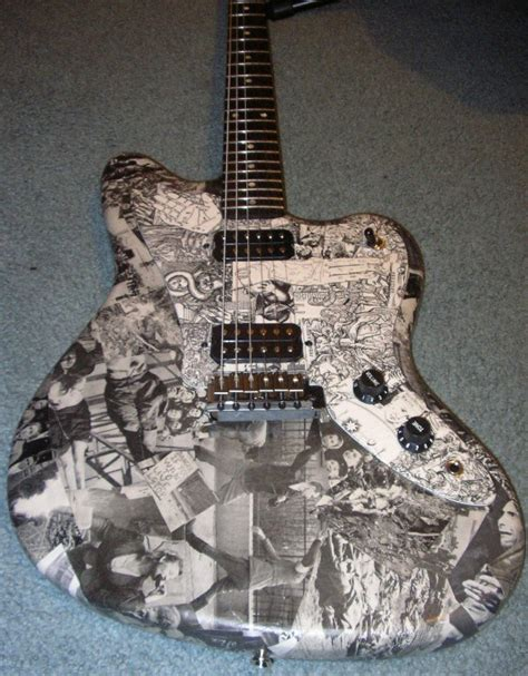 How To Decoupage A Guitar - wwii photo collaged guitar by sweetunnecessary on deviantart