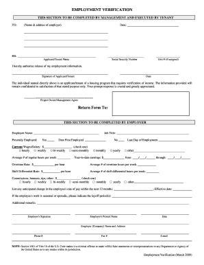 employment verification form fill online printable
