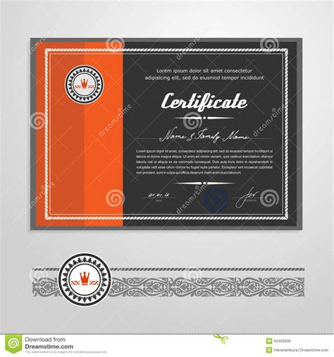 certificate diploma design template stock vector image
