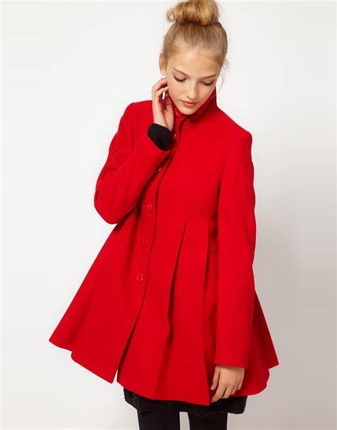 swing back coat image 1 of asos pleat swing front coat