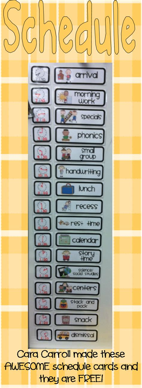 First Week Back Sharing Kindergarten Schedule Cards Template