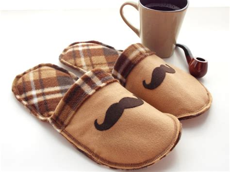 Handmade Mens Slippers - handmade mens mustache house slippers mojos cozy toes
