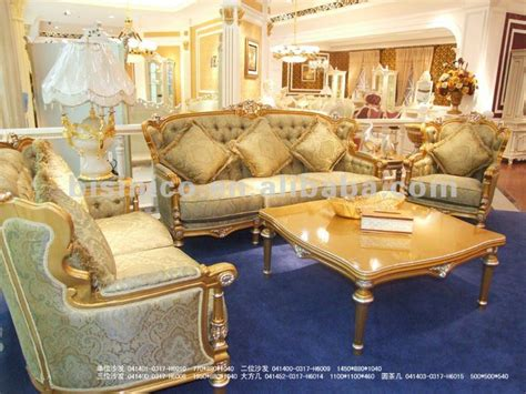 Living Room Gold Sofa Luxury European Classical Sofa Set Wood Carving Sofa Set
