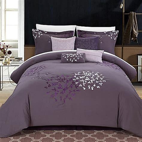 queen 8 piece comforter set buy chic home budz 8 piece queen comforter set in purple