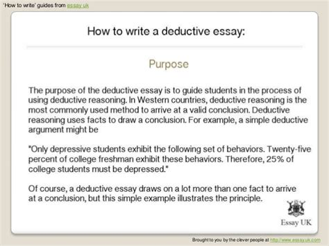 Deductive Reasoning Essay by How To Write A Deductive Essay