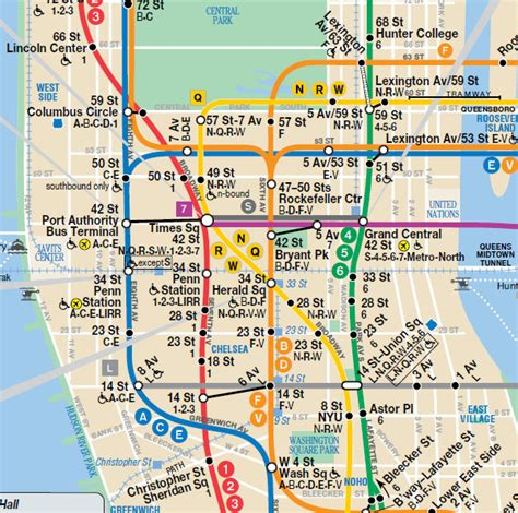 subway map of manhattan with streets city of new york new york map mta subway map