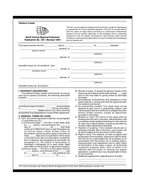 grazing agreement template pasture lease agreement template free
