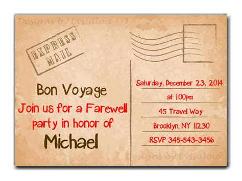 free going away card templates travel farewell invitation bon voyage going