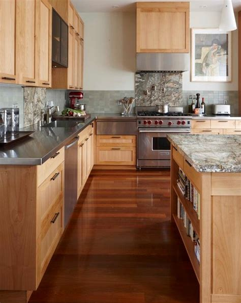 Colored Glass Kitchen Canisters maple cabinets with blue green tile backsplash and gray