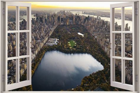 Aquarium Wall Stickers 3d effetto finestra vista central park nyc new york