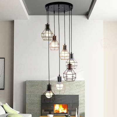 Foyer Guard by 7 Light Multi Light Foyer Hanging Pendant With Wire Guard