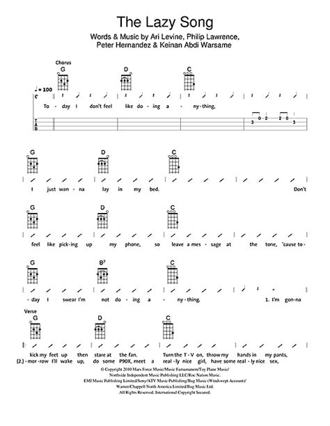 strumming pattern hear you me the lazy song sheet music by the ukuleles ukulele with