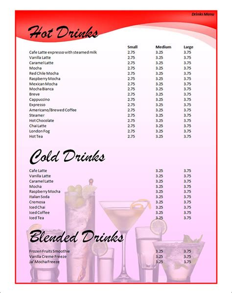 beverage menu template 14 bar menu templates