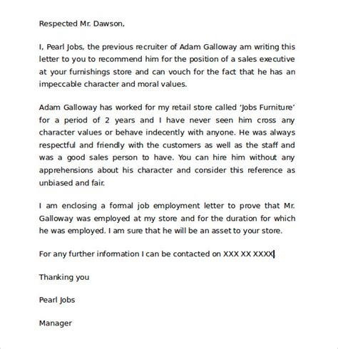 Character Reference Letter Template Sle Templates For Character Reference Letters 28 Images