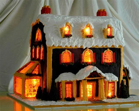two story gingerbread house template detailed for a lighted gingerbread