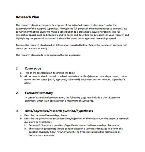 research plan template sle research plan template 7 free documents in pdf word