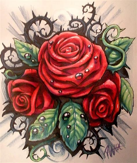 thorns and roses tattoos design by jwheelwrighttattoos on deviantart
