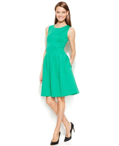 Green Flare Dress lyst calvin klein sleeveless scuba fit flare dress in