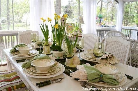 moss green tea rooms easter table setting with daffodil and moss centerpiece