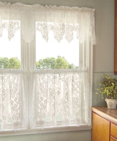 Kitchen Curtains Ready Made Dogwood Ready Made Lace Curtains Are For A Kitchen Or Family Room There Are Many