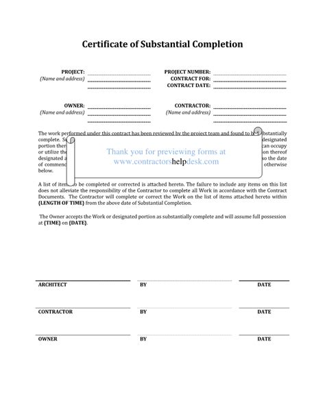 certificate of substantial completion template letter of substantial completion free printable documents